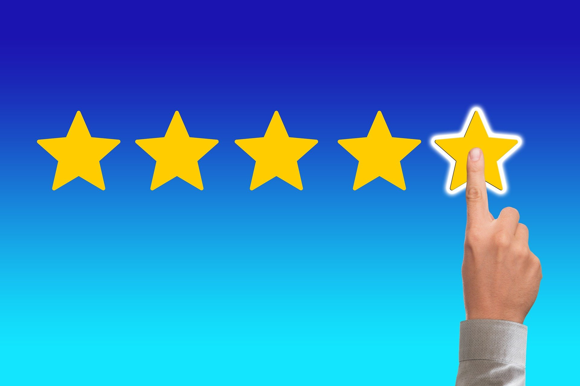 Business Review Stars with Hand